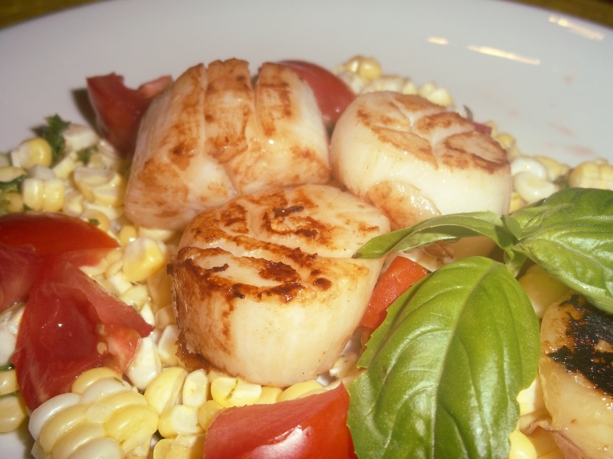ffwd – warm scallop salad with corn, nectarines and basil