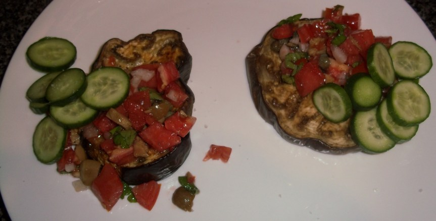 "ffwd – eggplant ""tartine"" with tomatoes, olives and cucumbers"