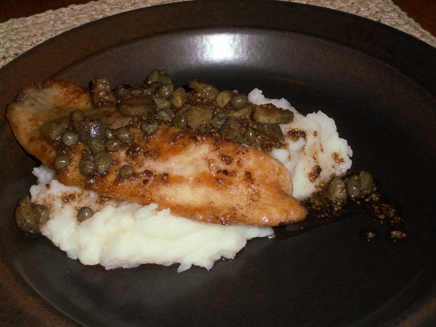 ffwd – skate (tilapia) with capers, cornichons and brown butter sauce