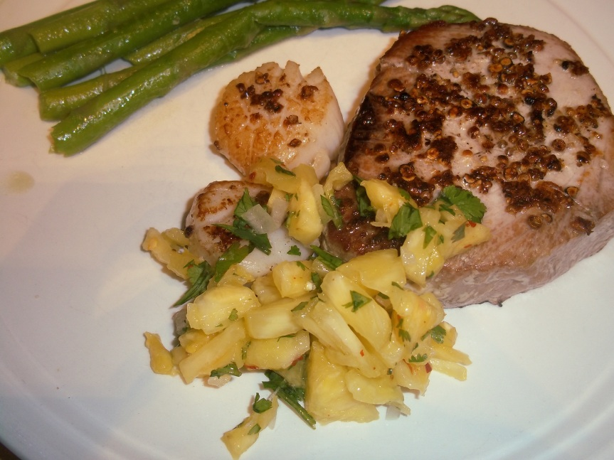 ffwd – spice-crusted tuna and scallops