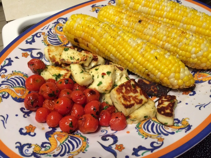 A repeat of last month's grilled houlumi and fresh-picked cherry tomatoes, along with some fresh grilled corn substituting for the potatoes