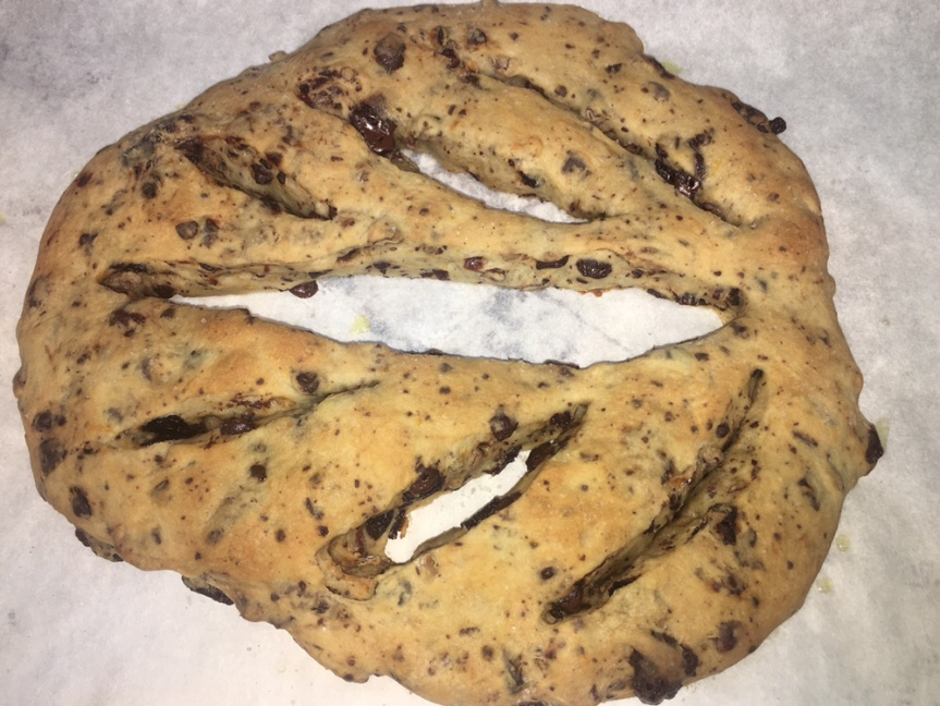 Chocolate and dried cherry fougasse